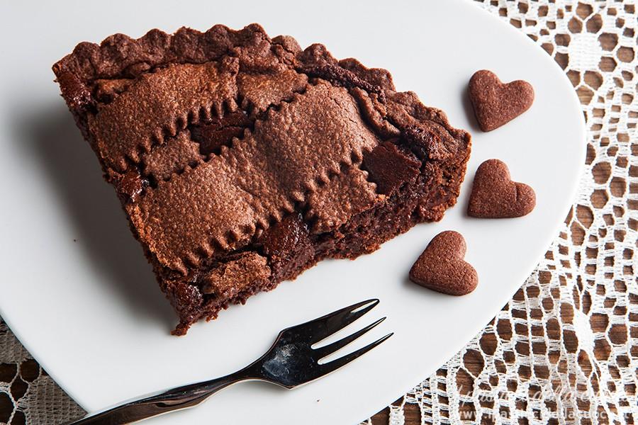 Fetta-di-crostata-al-cioccolato-vista dall' alto